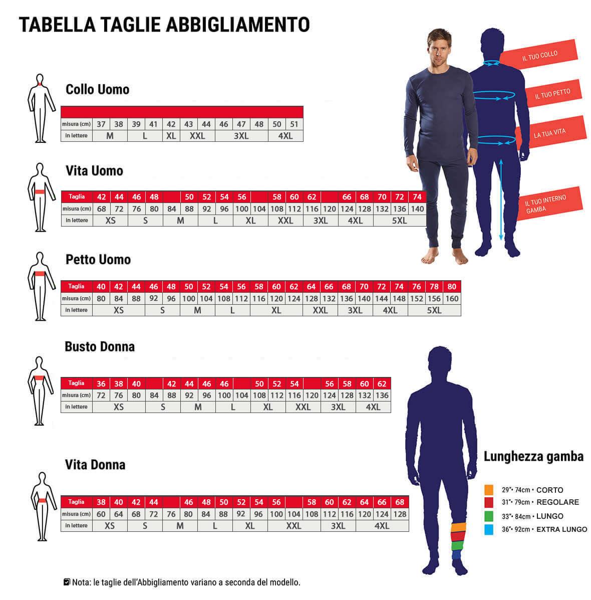 Tabella Taglie Abbigliamento Portewest
