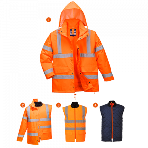 Giacca Traffic 4-in-1 in alta visibilità Portwest  - S468ORR4XL - Arancio