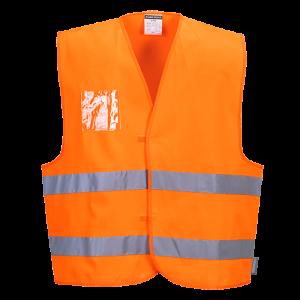 Gilet alta visibilità con porta badge doppio verso Portwest  - C475ORRL/XL - Arancio