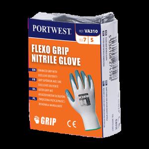 Guanto Flexo Grip in nitrile per distributori automatici Portwest  - VA310W7RL - Bianco-Grigio