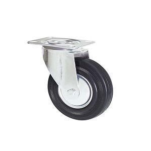 Ruota in gomma nera con supporto piastra girevole zincato