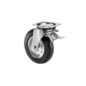 Ruota per cassoni nettezza urbana con cerchio in metallo e supporto piastra girevole e freno zincato