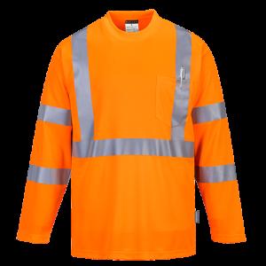 T-Shirt con taschino manica lunga ad alta visibilità Portwest  - S191ORR4XL - Arancio