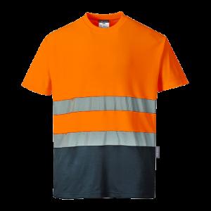 T-shirt in cotone comfort bicolore Portwest  - S173ONRL - Arancio-Navy