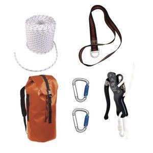 Kit evacuazione: corda intrecciata 50 m + TC006 + LV102150 + 2 AM025 + TC008 TC019
