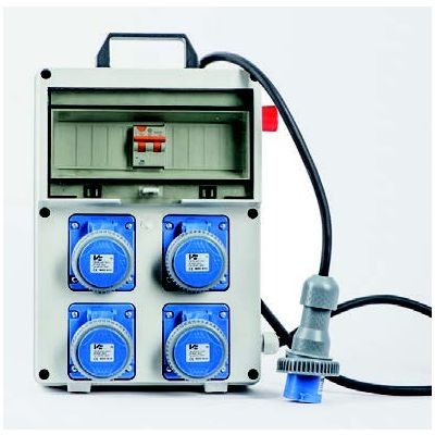 Quadro elettrico portatile monofase 3 Kw 4 Prese con pulsante di emergenza